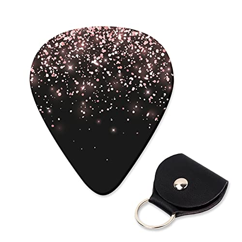 EILANNA Guitar Picks Rose gold falling glitter on black background Trendy Guitar Plectrums for Your Electric,Acoustic,Ukulele,or Bass Guitar,Guitar Pick Grip 6pcs,3 Thickness(0.46,0.71,0.96mm)
