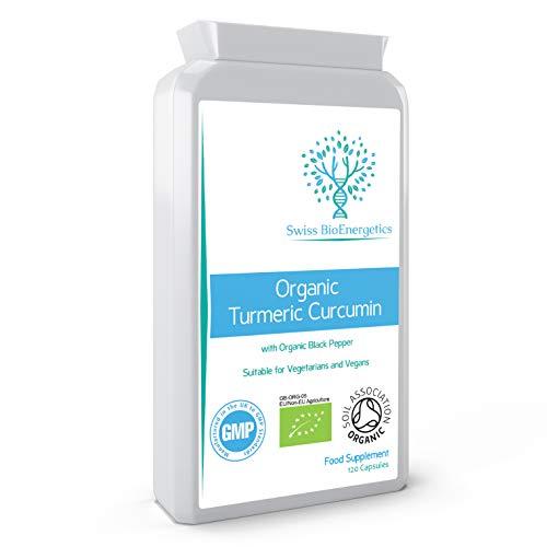 Organic Turmeric Curcumin 1000mg daily dose plus Organic Black Pepper - High Potency - 120 Veg Capsules - UK Manufactured Certified Organic, Non-GMO & Gluten Free - Suitable for Vegetarians and Vegans