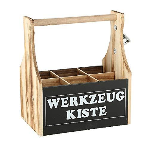 CasaJame Holz Kiste Flaschenhalter Bierflaschenkiste Flaschenbox mit Kapselheber Werkzeugkiste 28x17x28cm