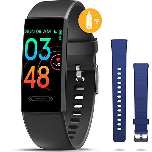 MorePro Fitness Tracker with Body Temperature Sleep Monitor, Health Tracker with Blood Pressure Heart Rate Monitor, Multiple Sports Mode Step Calorie Counter, for Kids Women Men (Extra Strap)
