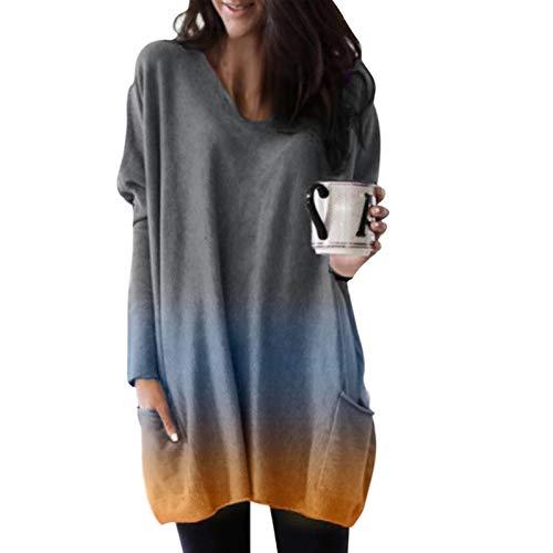 Damen Bluse Rundhalsausschnitt Langarm T-Shirt Frauen Rollkragen Pullover Lange...