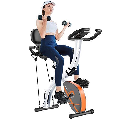 Afully Folding Stationary Exercise Bike with Arm Resistance...