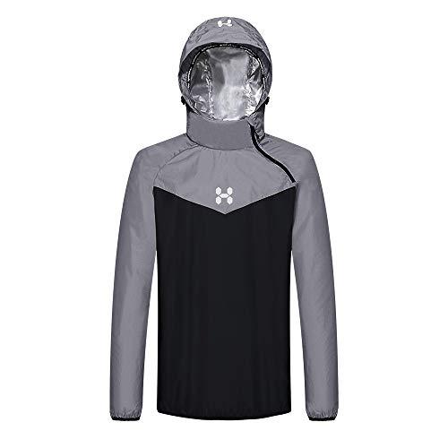 HOTSUIT Sauna Suit Men Weight Loss Gym Exercise Sweat Suits Workout Jacket Gray XXL