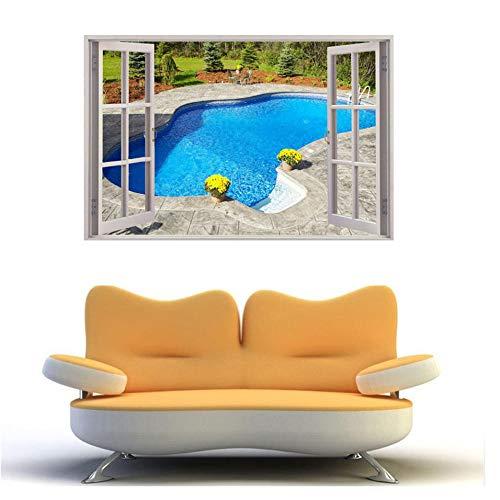 Muurtattoo, muurstickers, ramen, 3D, zwembad, muurstickers, muurschildering, decoratie voor thuis, slaapkamer, woonkamer, keuken, 60 x 40 cm