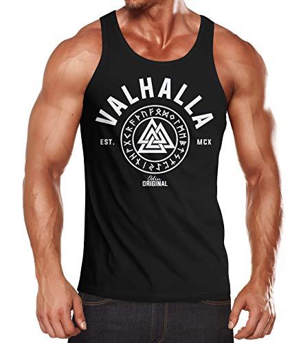 Neverless Herren Tank-Top Valhalla Runen Vikings Wikinger Muscle Shirt schwarz XXL