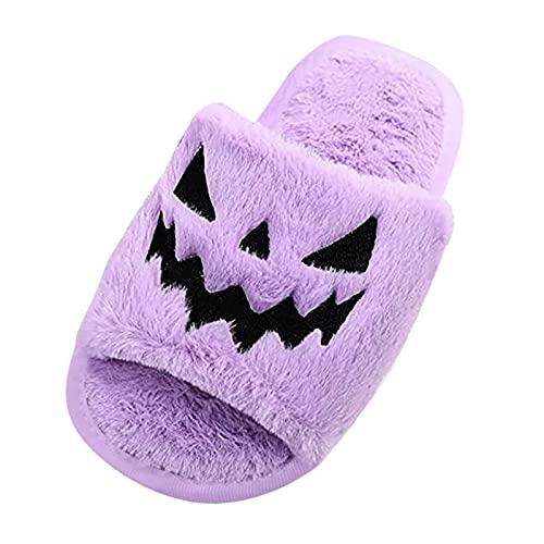 URIBAKY - Pantuflas de Halloween bordadas de peluche, para mujer, zapatillas de espuma con memoria y zapatillas antideslizantes para interior y exterior, morado, 38 EU