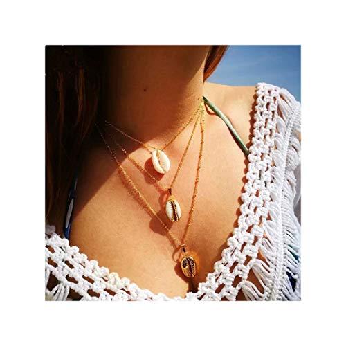 IYOU boho gelaagde kettingen gouden schelp hanger ketting zomer strand zee bohe ketting sieraden voor vrouwen en meisjes
