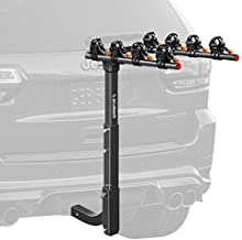 IKURAM R 4 Bike Rack Bicycle Carrier Racks Hitch Mount Double Foldable Rack for Cars, Trucks, SUV's and minivans with a 2