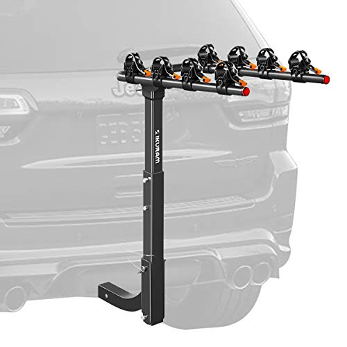 """IKURAM R 4 Bike Rack Bicycle Carrier Racks Hitch Mount Double Foldable Rack for Cars, Trucks, SUV's and minivans with a 2"""" Hitch Receiver"""