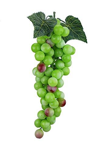 Deko Weintrauben Rispe Wein Trauben Kunstobst Kunstgemüse künstliches Obst Gemüse Dekoration (Länge 30 cm, Grün rot rund)