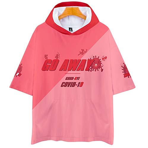 YDXH Nuevo coronavirus COVID-19 Cell Encapuchada Modelo de Manga Corta Camiseta de prevención y Control de epidemias de la Propaganda de Ropa,L