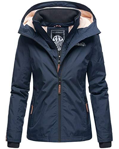 Marikoo Designer Damen Übergangs Jacke leicht gefüttert Kapuze kurz B659 [B659-Erdbeer-Navy-Gr.XL]