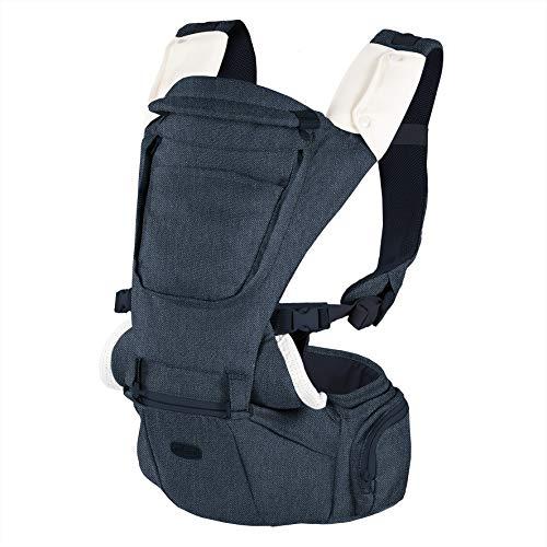 Chicco Hip Seat Porte-bébé Physiologique , Multifonction 3 en 1, avec Base Rigide Détachable, Bretelles Rembourrées et Capuche de Protection, 8 positions - de la Naissance à 15 kg - Denim