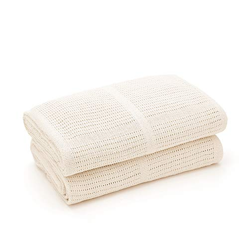 Bloomsbury Mill - Twin Pack - 100% Pure Organic Cotton - Extra Soft Cellular Baby Blankets - Pram/Travel/Moses Basket - Cream