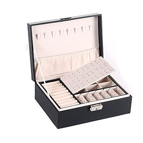 Caja Joyero Caja De Joyería, Joyería Para Mujeres Organizador De Joyería De Cuero Grande Dos Capas Con Pantalla De Bloqueo Para Pendientes Pulseras Anillos Relojes Jewelry Organizer ( Color : B )