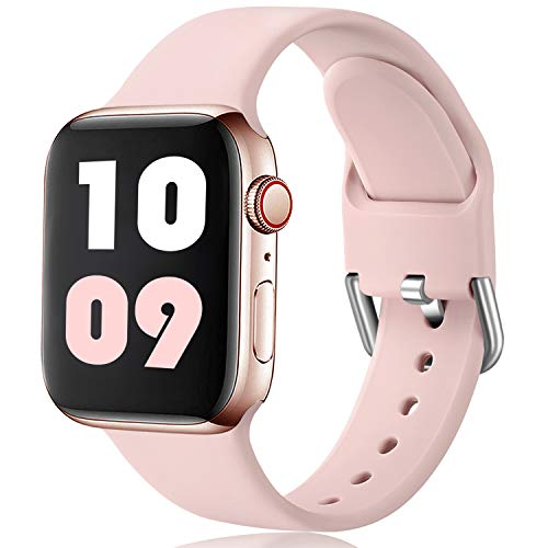 Ouwegaga Compatible avec Apple Watch Bracelet 38mm 42mm 40mm 44m, Sport en Silicone Doux Remplacement Bracelet Compatible avec Apple Watch Se/iWatch Series 6/5/4/3/2/1, 38mm/40mm S/M Rose