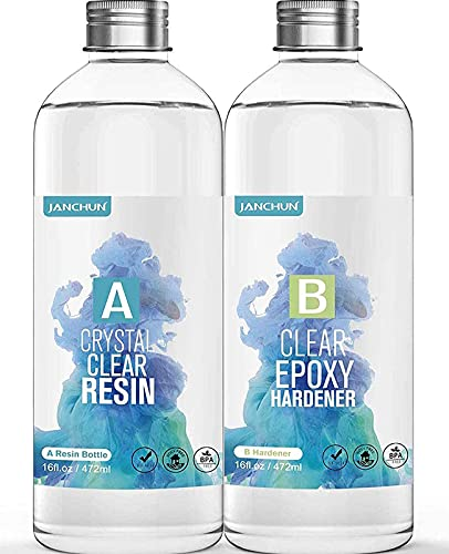 32oz Crystal Clear Epoxy Resin Kit Casting and Coating for River Table Tops, Art Casting Resin,Jewelry Projects, DIY,Tumbler Crafts, Molds, Art Painting, Easy Mix 1:1 Ratio