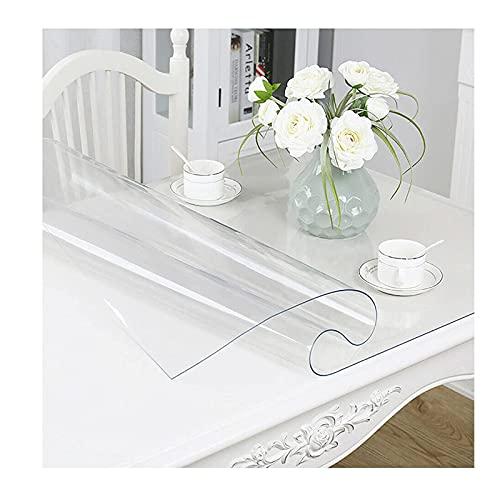 Tovaglia rettangolare trasparente,PVC Tovaglia, Vetro Morbido Trasparente Copritavolo, Lavabile, Resistente PVC, Sala da Pranzo Usato per Tavolino da caffè, Scrivania, Mobile TV 1mm (size:80x100cm/3