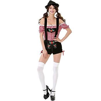 Bavarian Beauty Women s Halloween Costume Sexy Tavern Maid Lederhosen Dress Pink Medium