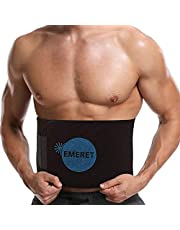 Emeret Tummy Trimmer Exerciser Sweat Waist Trainer Slim Belt for Fat-Burning for Men and Women (Black)