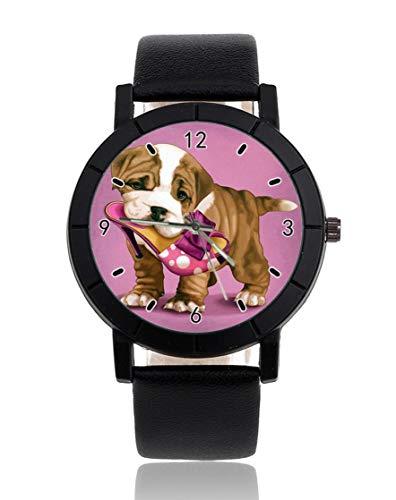 Reloj de pulsera personalizado para perro con zapatos, informal, correa de piel,...