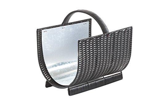 Kobolo Kaminholzkorb aus Polyrattan mit Metalleinsatz oval - Dunkelbraun