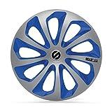 SPARCO SPC1473SVBL Enjoliveur Sicilia, Argent/Bleu, Set de 4, 14'