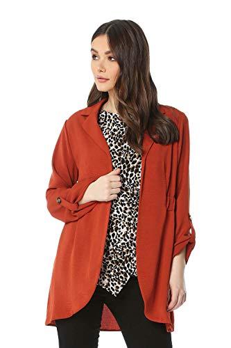 Roman Originals Damesjas met 3/4 mouw - Dames casual elegante blazer, jas, getailleerd, afgeronde zoom, lang gesneden, revers met knoppen, kantoor