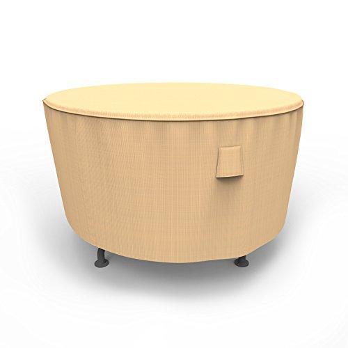 Budge P5A22TNNW1 Round Table Medium Rust-Oleum NeverWet-Patio Furniture Cover, 48' diam x 28' Drop, Tan