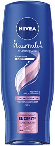 Nivea Haarmilch Pflegespülung für feine Haarstruktur im 6er Pack (6 x 200 ml), Conditioner zur Regeneration pflegt die Haare ohne Mineralöle, bessere Kämmbarkeit durch cremige Spülung
