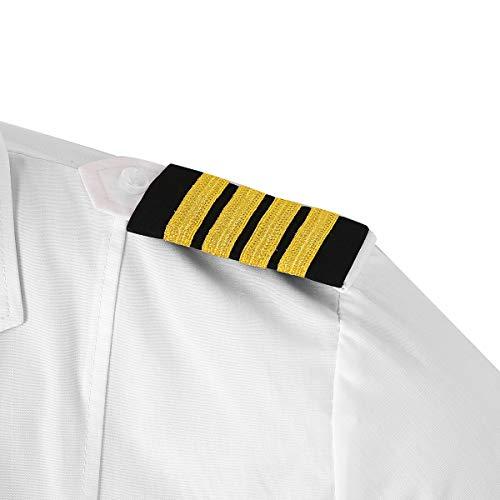 CHICTRY 1 Paar Epauletten Uniform Schulterklappen Schulterstücke Kapitän Schulterstücken mit 1 bis 4 Goldstreifen Militär Cosplay Kostüm Schwarz&Gold D One Size