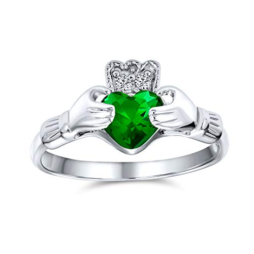 BFF Celtic Irish Friendship Promise AAA CZ Green Simulated Emerald Hands & Heart Claddagh Ring For Women Teens 925 Sterling Silver