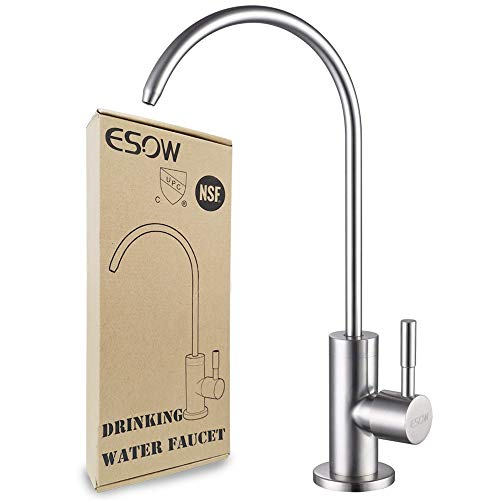 ESOW Kitchen Water Filter Faucet, 100% Lead-Free Drinking Water Faucet Fits most Reverse Osmosis Units or Water Filtration System in Non-Air Gap, Stainless Steel 304 Body Brushed Nickel Finish