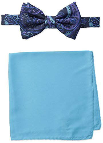 Steve Harvey Men's Paisley Woven Bowtie and Solid Pocket Square, Navy, One Size