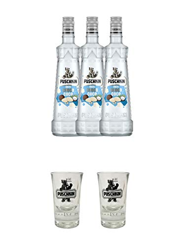 Puschkin White Choco Coco 3 x 0,7 Liter + Puschkin Shotglas mit Eichstrich 2cl + Puschkin Shotglas mit Eichstrich 2cl