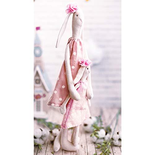 GMMH Bastelset zum Selbermachen Puppen Nähset Stoff Doll (Hase Mutter mit Tochter 35 cm)