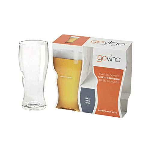 Govino Go Anywhere Dishwasher Safe Beer Glasses Flexible Shatterproof Recyclable, 16-ounce, 2 Pack