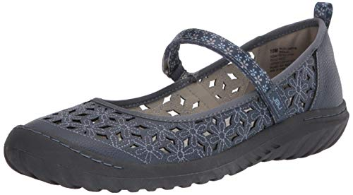JBU by Jambu Women's Wildflower MJ Mary Jane Flat, Denim, 7.5 Wide US