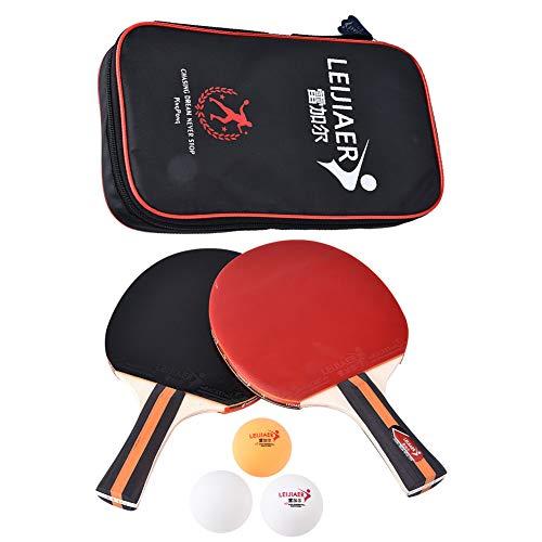 Palas Ping Pong Juego De Raqueta De Ping Pong Portátil De Tenis De Mesa De Entrenamiento Profesional 2 Uds con Bolsa Y 3 Bolas Mango Duradero De Goma Resistente