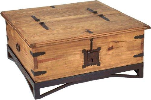 MiaMöbel Truhentisch Mexico Möbel 97x50x97 cm Landhausstil Massivholz Pinie Honig
