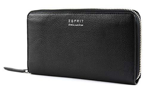 ESPRIT Damen Geldbörse Portemonnaies Classic Zip Leder Schwarz 098EA1V024-001