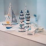 Flanacom Badezimmer Deko - 3er Set - Maritime Badezimmer Deko - Leuchtturm, Segel-Schiff und Strand-Stuhl aus Holz - Badaccessoires - Schöne Deko für das Bad - Design 2 - 2