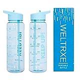 WELTRXE Trinkflasche BPA Frei, Wasserflasche 730 ml Durchsichtige Tritan Flasche mit Deckel und Trinkstrohhalm, Blaue Auslaufsichere Flasche mit Zeitmarkierung fr Sport Yoga Kinder Rucksack