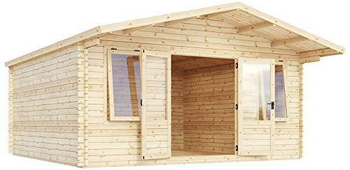 Green Planet UK - 5m x 5m Haven blokhut, zomerhuis, tuinbureau - FSC Bronnen hout 34mm Bekleding, dubbele deuren, enkele beglazing veiligheidsglas - snelle levering