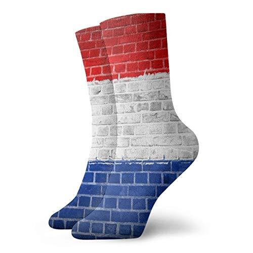 BJAMAJ Unisex Sokken Nederland Vlag Baksteen Muur Interessant Polyester Crew Sokken Volwassene Sokken Katoen