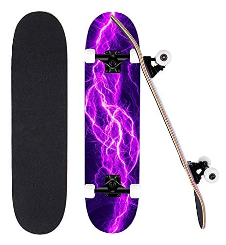 80 cm nybörjare skateboard en komplett kortlek lönn trick skateboard lämplig för vuxna, tonåringar och barn. Födelsedagspresenter för pojkar och flickor – E