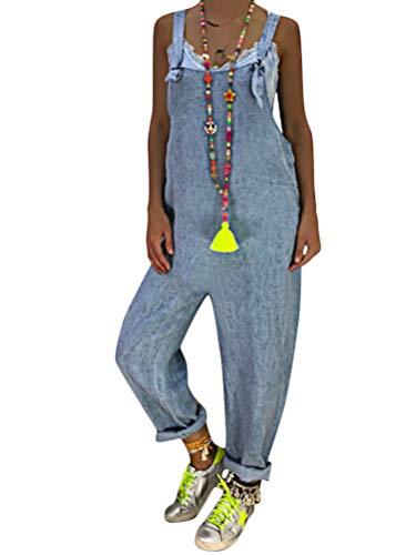 Tomwell Mujer Baggy Peto de Pantalones Largos Mono Harem Anchos Talla Grande Casual Moda Bolsillos Tiras Fiesta Azul Claro ES 44