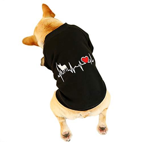 Coversolat Hundepullover Kleine Hunde Hund Pullover mit Herz Schwarz Katzen Muster Sweater Hundekleidung Chihuahua