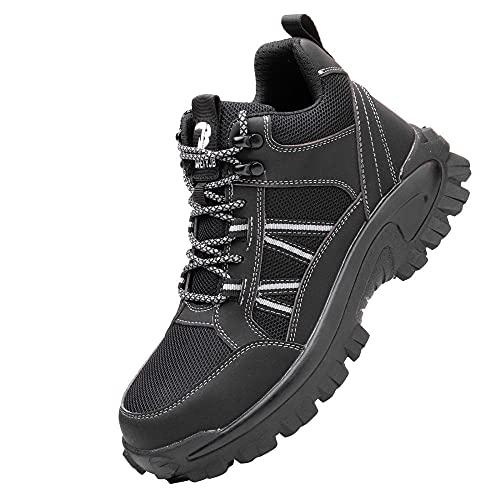 Transpirable Zapatos de Trabajo Punta de Acero,Punta de Acero Zapatos Ligero Zapatos de Trabajo Respirable Construcción Zapatos Botas de Seguridad,Black▁42
