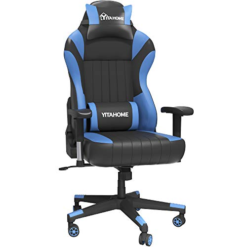 YITAHOME 400lb Capacity Gaming Chair with Headrest and Lumbar Support Big and Tall Heavy Duty High Back Office Chair Ergonomic Swivel Recliner Desk Chair with Adjustable Armrest, Blue